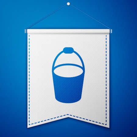 Blue Fire bucket icon isolated on blue background. Metal bucket empty or with water for fire fighting. White pennant template. Vector