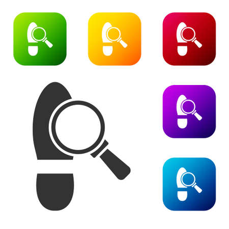 Black Magnifying glass with footsteps icon isolated on white background. Detective is investigating. To follow in the footsteps. Set icons in color square buttons. Vector
