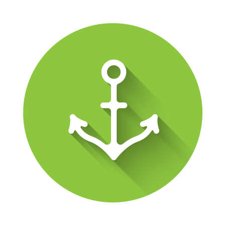 White Anchor icon isolated with long shadow. Green circle button. Vector Illustration
