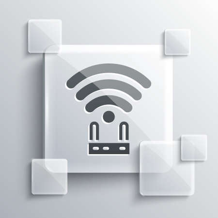 Grey Router and wifi signal icon isolated on grey background. Wireless   modem router. Computer technology internet. Square glass panels. Vector Ilustracja
