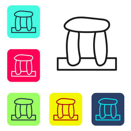 Black line Stonehenge icon isolated on white background. Set icons in color square buttons. Vector Ilustração