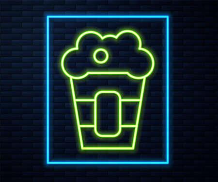 Glowing neon line Popcorn in cardboard box icon isolated on brick wall background. Popcorn bucket box. Vector