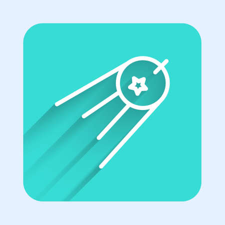 White line Satellite icon isolated with long shadow. Green square button. Vector