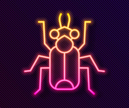 Glowing neon line Beetle bug icon isolated on black background. Vector Ilustração