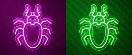 Glowing neon line Beetle deer icon isolated on purple and green background. Horned beetle. Big insect. Vector