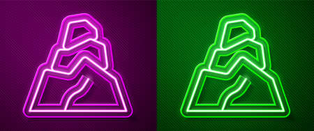 Glowing neon line Rock stones icon isolated on purple and green background. Vector