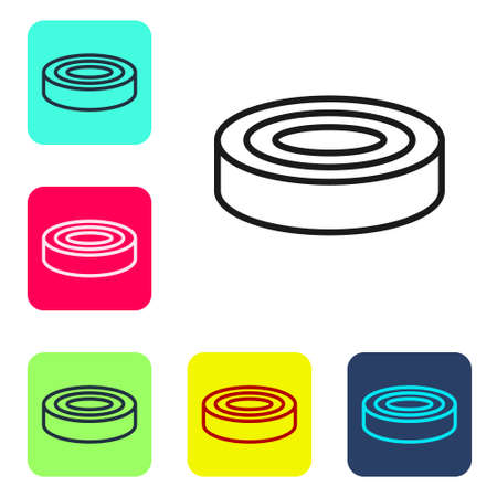 Black line Checker game chips icon isolated on white background. Set icons in color square buttons. Vector