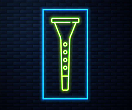 Glowing neon line Clarinet icon isolated on brick wall background. Musical instrument. Vector
