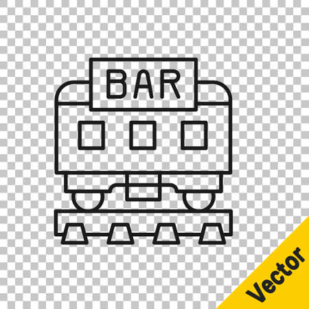 Black line Restaurant train icon isolated on transparent background. Vector