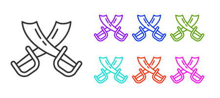 Black line Crossed pirate swords icon isolated on white background. Sabre sign. Set icons colorful. Vector Illustration