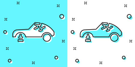 Black line Broken car icon isolated on green and white background. Car crush. Random dynamic shapes. Vector Illustration