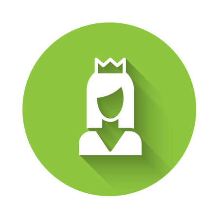 White Princess icon isolated with long shadow. Green circle button. Vector