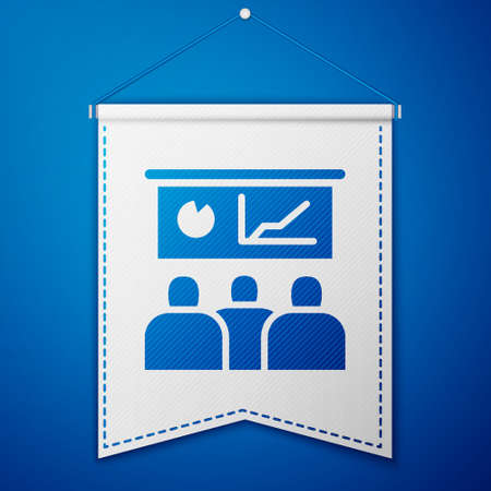 Blue Training, presentation icon isolated on blue background. White pennant template. Vector