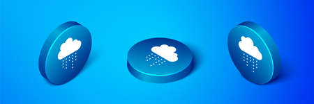 Isometric Cloud with rain icon isolated on blue background. Rain cloud precipitation with rain drops. Blue circle button. Vector