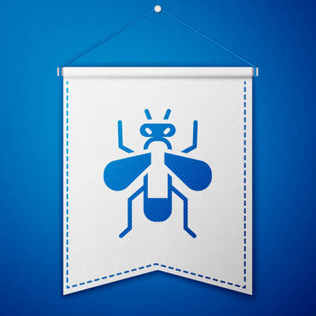 Blue Insect fly icon isolated on blue background. White pennant template. Vector Ilustracja
