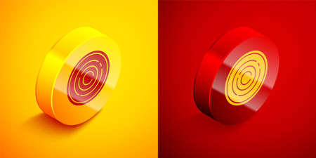 Isometric Game chips icon isolated on orange and red background. Circle button. Vector