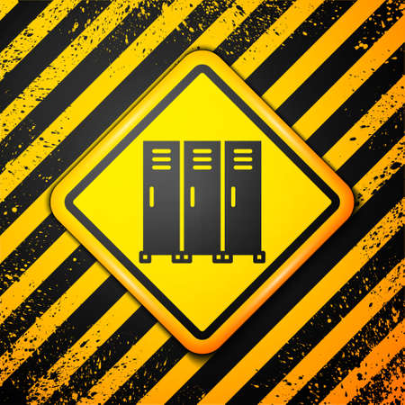 Black Locker or changing room for hockey, football, basketball team or workers icon isolated on yellow background. Warning sign. Vector