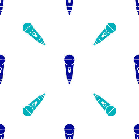 Blue Microphone icon isolated seamless pattern on white background. On air radio mic microphone. Speaker sign. Vector
