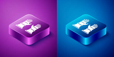 Isometric Firefighter gloves icon isolated on blue and purple background. Protect gloves icon. Square button. Vector Иллюстрация