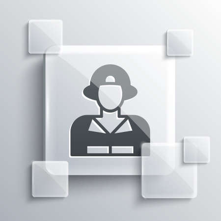 Grey Firefighter icon isolated on grey background. Square glass panels. Vector