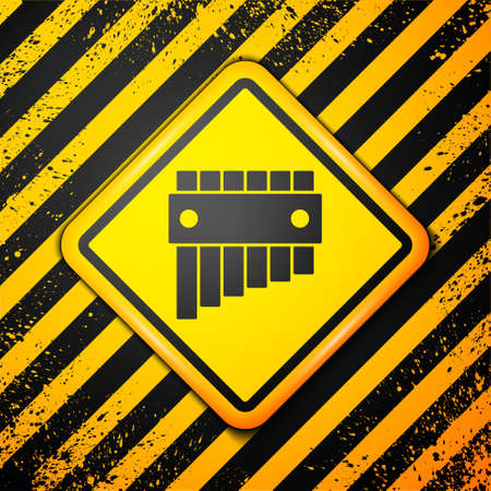 Black Pan flute icon isolated on yellow background. Traditional peruvian musical instrument. Folk instrument from Peru, Bolivia and Mexico. Warning sign. Vector