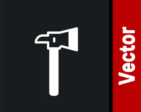 White Firefighter axe icon isolated on black background. Fire axe. Vector Иллюстрация