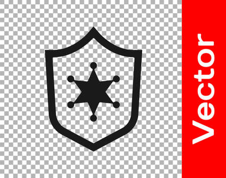 Black Police badge icon isolated on transparent background. Sheriff badge sign. Vector