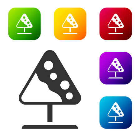 Black Road sign avalanches icon isolated on white background. Snowslide or snowslip rapid flow of snow down a sloping surface. Set icons in color square buttons. Vector Vetores