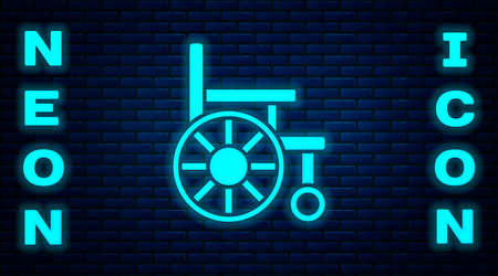 Glowing neon Wheelchair for disabled person icon isolated on brick wall background. Vector