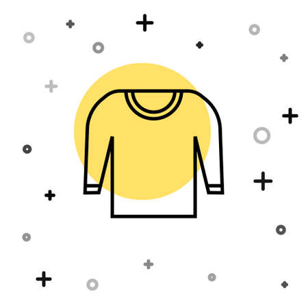 Black line Sweater icon isolated on white background. Pullover icon. Random dynamic shapes. Vector Illustration