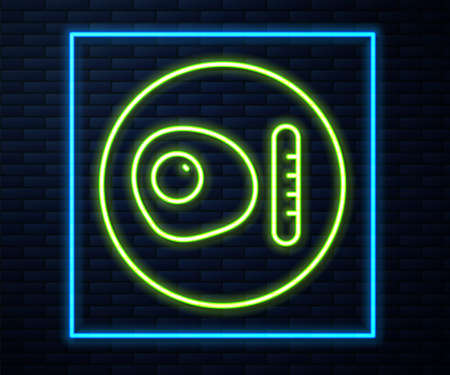 Glowing neon line Traditional british breakfast, fried eggs with sausage icon isolated on brick wall background. Vector