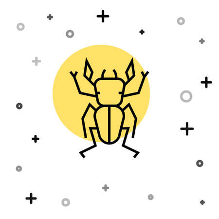 Black line Beetle deer icon isolated on white background. Horned beetle. Big insect. Random dynamic shapes. Vector