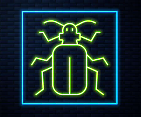 Glowing neon line Chafer beetle icon isolated on brick wall background. Vector