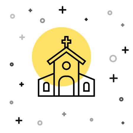 Black line Church building icon isolated on white background. Christian Church. Religion of church. Random dynamic shapes. Vector 矢量图像
