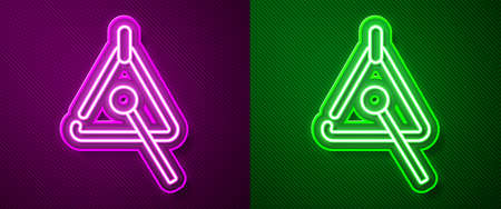Glowing neon line Triangle musical instrument icon isolated on purple and green background. Vector Ilustração