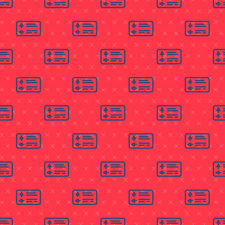 Blue line Road traffic sign. Signpost icon isolated seamless pattern on red background. Pointer symbol. Street information sign. Direction sign. Vector