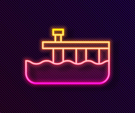 Glowing neon line Beach pier dock icon isolated on black background. Vector