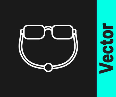 White line Eyeglasses icon isolated on black background. Vector