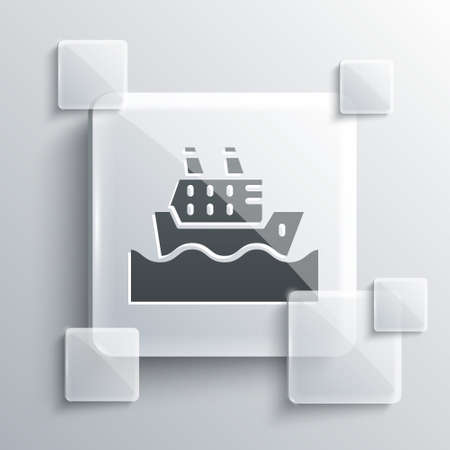 Grey Cruise ship in ocean icon isolated on grey background. Cruising the world. Square glass panels. Vector