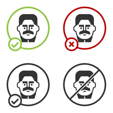 Black Portrait of Joseph Stalin icon isolated on white background. Circle button. Vector