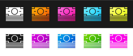 Set Stacks paper money cash icon isolated on black and white background. Money banknotes stacks. Bill currency. Vector