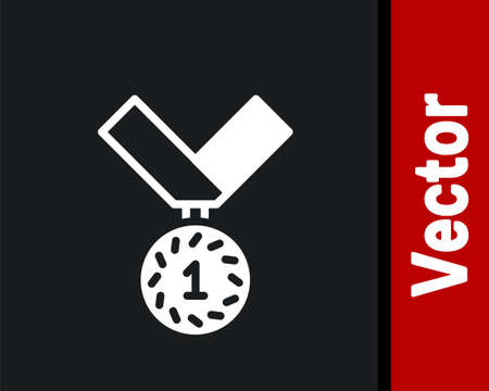 White Medal icon isolated on black background. Winner symbol. Vector