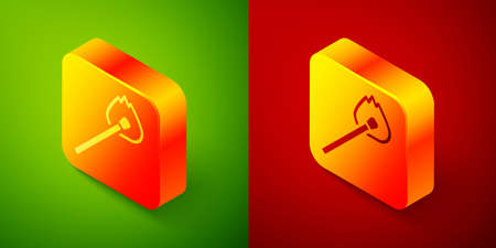 Isometric Burning match with fire icon isolated on green and red background. Match with fire. Matches sign. Square button. Vector