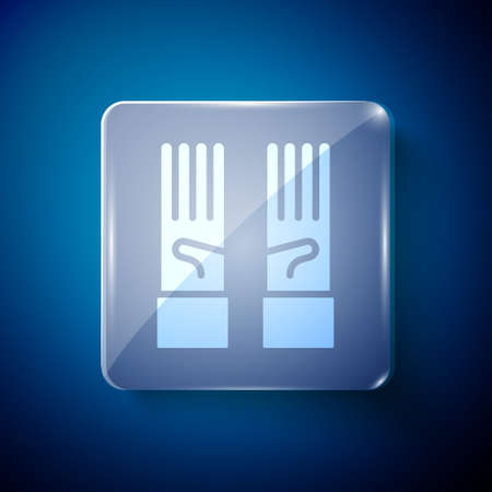 White Medical rubber gloves icon isolated on blue background. Protective rubber gloves. Square glass panels. Vector