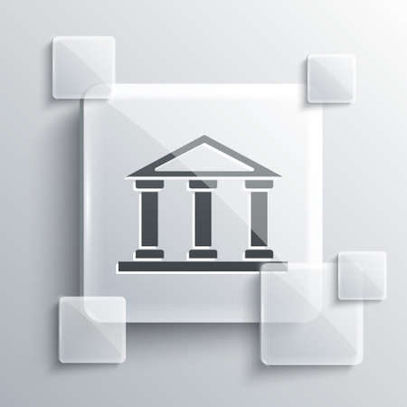 Grey Courthouse building icon isolated on grey background. Building bank or museum. Square glass panels. Vector