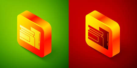 Isometric Baby food icon isolated on green and red background. Square button. Vector