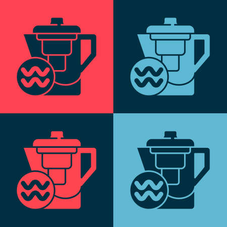 Pop art Water jug with a filter icon isolated on color background. Vector Illustration