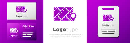 Logotype Infographic of city map navigation icon isolated on white background. Mobile App Interface concept design. Geolacation concept. Logo design template element. Vector Illustration