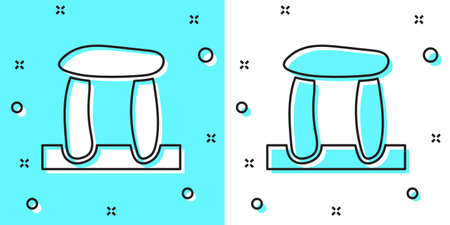 Black line Stonehenge icon isolated on green and white background. Random dynamic shapes. Vector