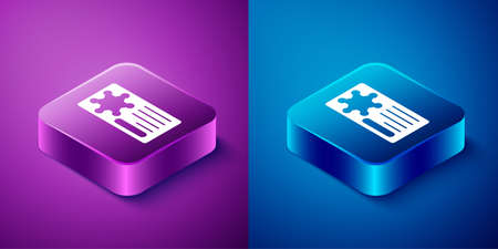 Isometric Police badge icon isolated on blue and purple background. Sheriff badge sign. Square button. Vector